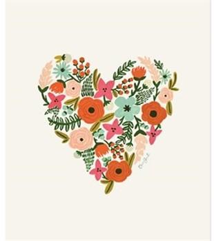 Affiche coeur en fleurs 18 x 24 pouces chez Buk et Nola 60$