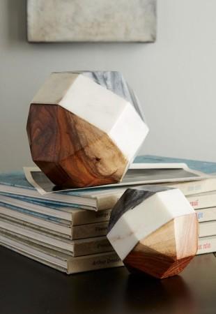 Formes décoratives bois et marbre West Elm 68,50$