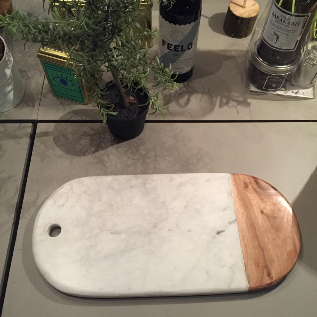 Planche marbre et bois Espace Pépin coin maison
