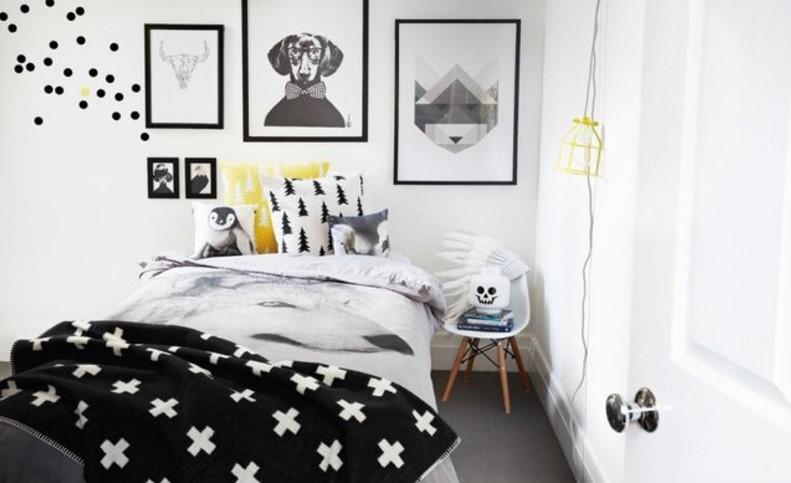 Noir et blanc avec accent jaune homedit.com