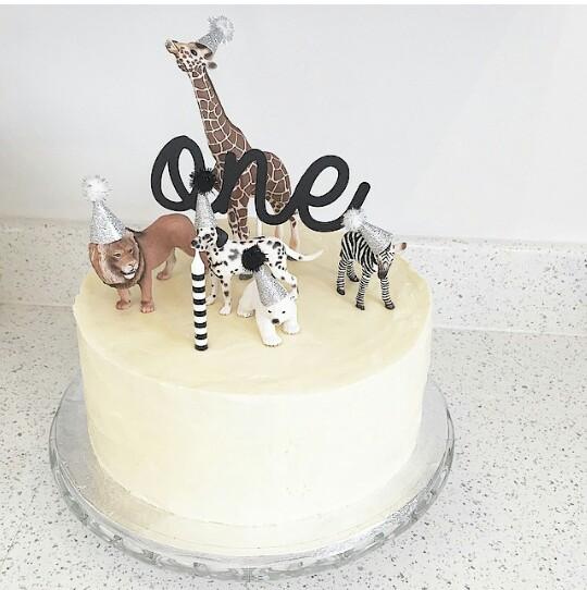 gâteau one et animaux en fête
