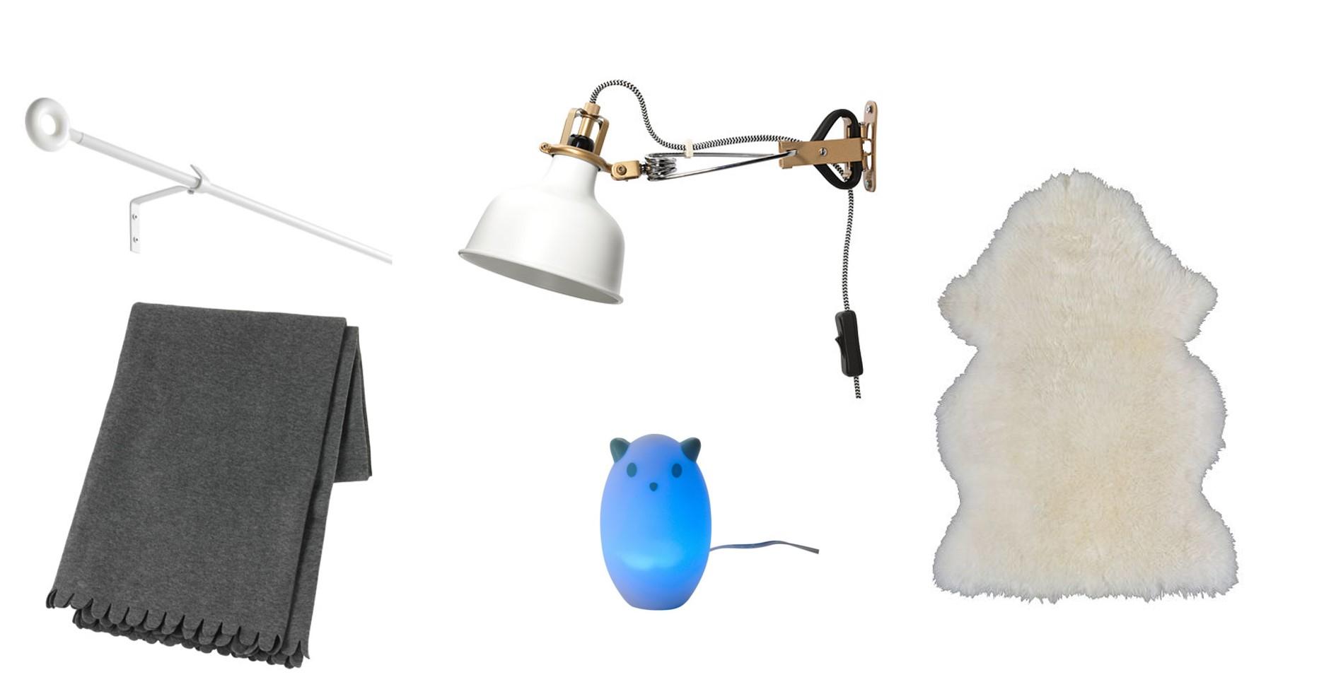 IRJA Tringle à rideaux 1,99$ | Luminaires de la collection RANARP (à partir de 29,99$) | POLARVIDE Jeté 5,99$ | Spöka Veilleuse à DEL 17,99$ | RENS Peau de mouton 39,99$ (ou version de luxe SKOLD à 249$)