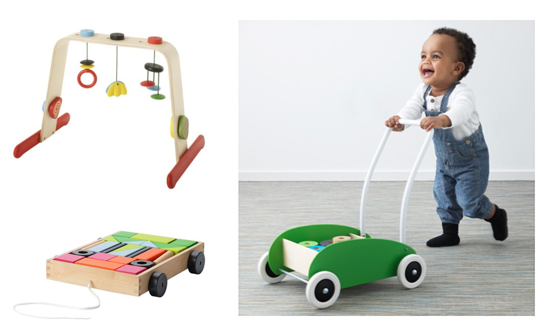 Leka Portique pour bébé 29,99$ | Mula Voiture avec cubes 14,99$ | Mula Porteur 29,99$
