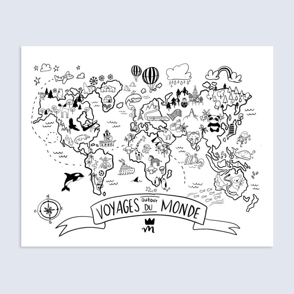 Affiche Voyages autour du monde par Moose & Moona